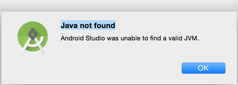 mac下运行android studio提示java not found