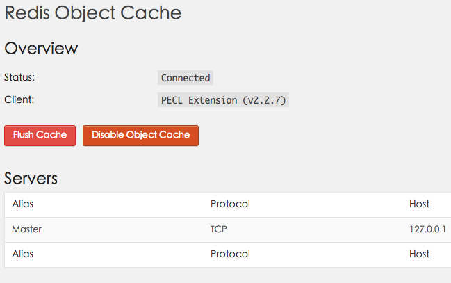 wordpress redis object cache成功页面
